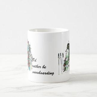I'd rather be snowboarding classic white coffee mug