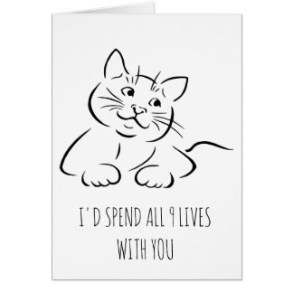 I'd spend all 9 lives with you cute Valentine card