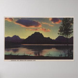 Idaho - Dusk View of Mt. Moran & Jackson Lake Poster
