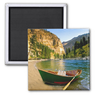 IDAHO, Fishing boat on a sandy beach in the Square Magnet