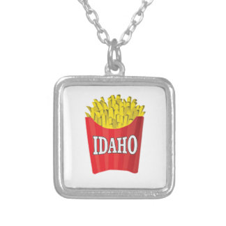 idaho french fries silver plated necklace