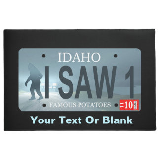 "Idaho ""I Saw 1"" Sasquatch License Plate Doormat"