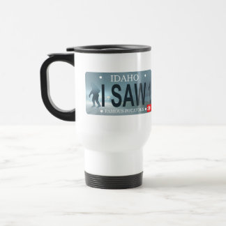 "Idaho ""I Saw 1"" Sasquatch License Plate Travel Mug"