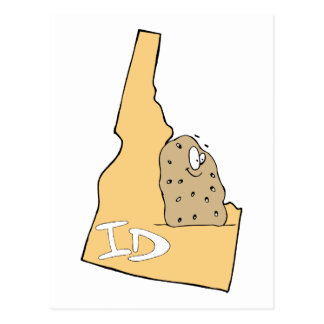 Idaho ID Map & Idaho Potato Spud Cartoon Motto Postcard