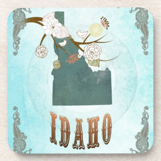 Idaho Map With Lovely Birds Beverage Coaster