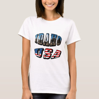 Idaho Picture State and Flag USA Text T-Shirt