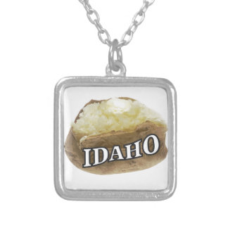 Idaho potato label silver plated necklace
