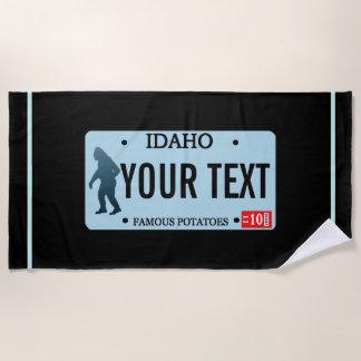 Idaho Sasquatch License Plate Beach Towel