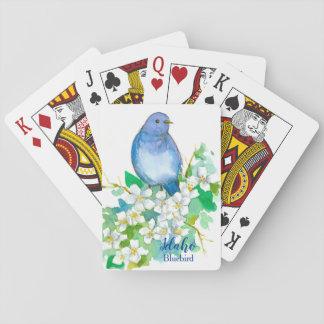 Idaho State Bird Mountain Bluebird Syringa Playing Cards