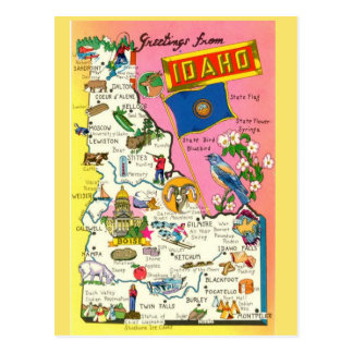 Idaho State  Map Postcard