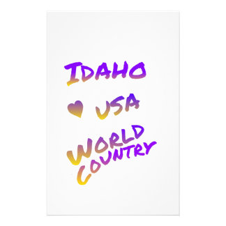 Idaho usa world country, colorful text art customized stationery