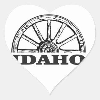 Idaho wagon wheel heart sticker