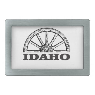 Idaho wagon wheel rectangular belt buckle