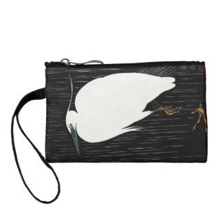 Ide Gakusui White Heron in Rain ukiyo-e japanese Coin Purse