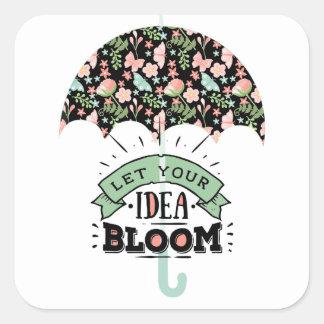 Idea Bloom Umbrella Square Sticker