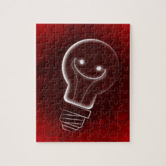 Idea Light-bulb, Smile, smiley face,Lightbulb, red Jigsaw Puzzle