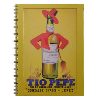 Ideas gift Vintage Announcement Fine Wine Sherry Spiral Notebooks