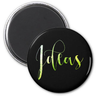 Ideas Green leaf Black Editorial Blogger Writer 2 Inch Round Magnet