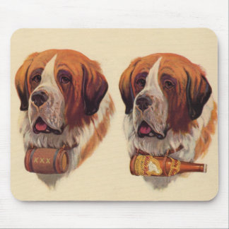 identical twin St. Bernards dogs Mouse Pad