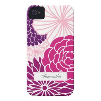 Identification florale rose et pourpre de mod à coque Case-Mate iPhone 4
