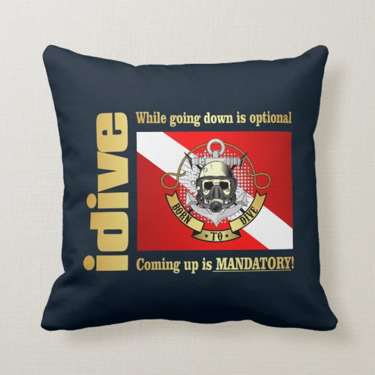 idive (Going Down Is Optional) Throw Pillow