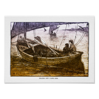Idling Off Cape Cod - Vintage Print On Canvas
