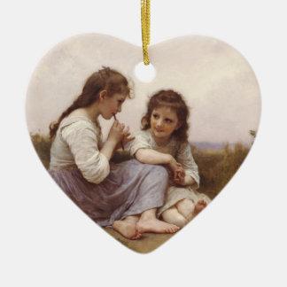 Idylle Enfantine (A Childhood Idyll) Ceramic Heart Ornament