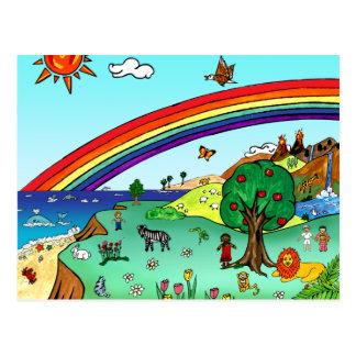 Idyllic Children's Landscape -- Paradise Postcard