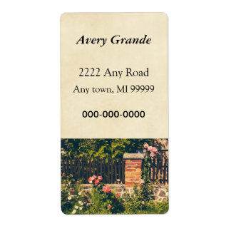 Idyllic Garden With Roses Wooden Fence Labels