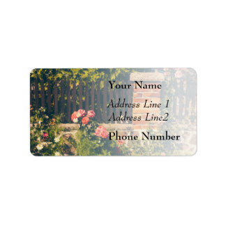 Idyllic Garden With Roses Wooden Fence Personalized Address Label