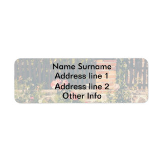 Idyllic Garden With Roses Wooden Fence Return Address Labels
