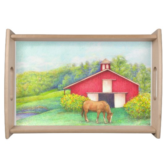 Idyllic Landscape red barn with horse Serving Trays