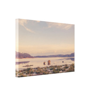Idyllic morning scenery by a lake canvas print