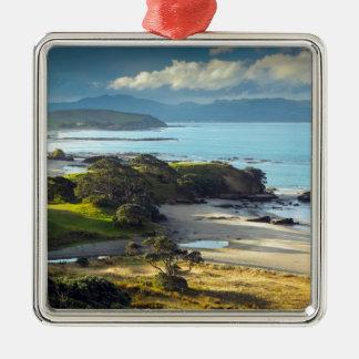 Idyllic New Zealand beach and coastline Metal Ornament