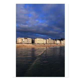 Idyllic summer evening San Sebastian coast Postcard