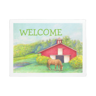 Idyllic Summer Landscape red barn with horse Doormat