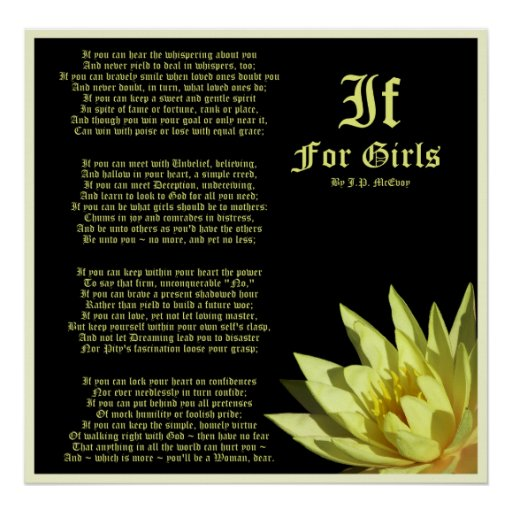 If For Girls Poem By J P Mcevoy Print Zazzle Ca