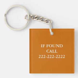 IF FOUND Phone Number Monogram Lost and Found Double-Sided Square Acrylic Keychain