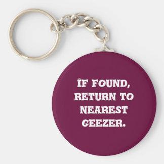 If found, return to nearest geezer. keychain