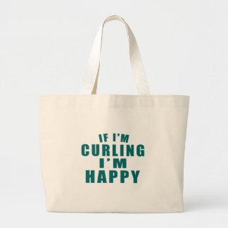 IF I'M CURLING I'M HAPPY LARGE TOTE BAG