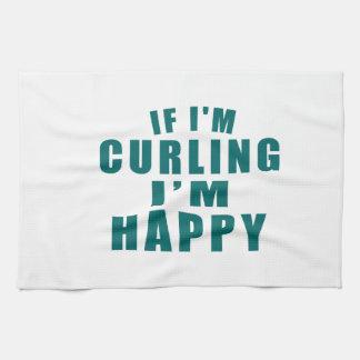 IF I'M CURLING I'M HAPPY TOWELS