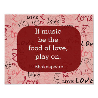 If music be the food-Shakespeare Quote -art print