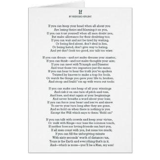 IF Poem by Rudyard Kipling Card
