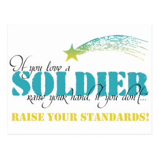 If you love a soldier raise your hand postcard