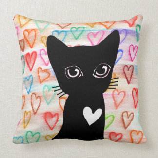 If you love black cats - hearts for you PILLOW
