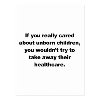 If you really cared about unborn children postcard