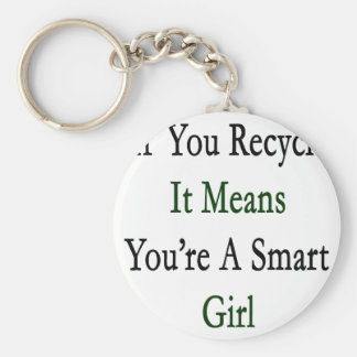 If You Recycle It Means You're A Smart Girl Keychain
