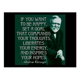 If you want to be happy... Andrew Carnegie Quote Postcard