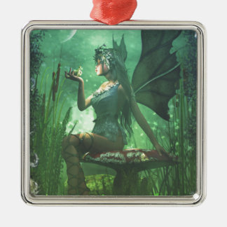 If you want to meet a handsome prince... Silver-Colored square ornament