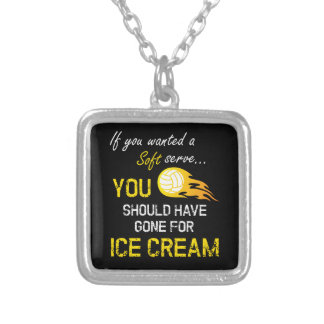 If You Wanted A Soft Serve Ice Cream - Volleyball Silver Plated Necklace